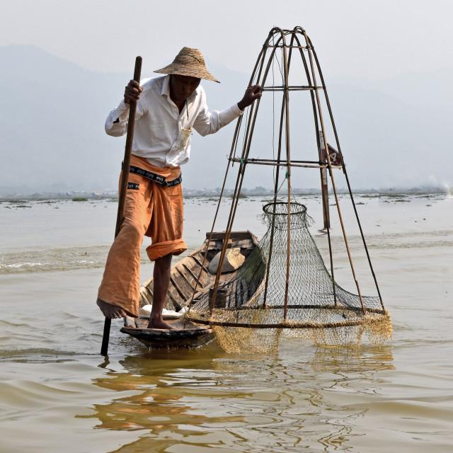 """Inle Fisherman #1"" stock image"