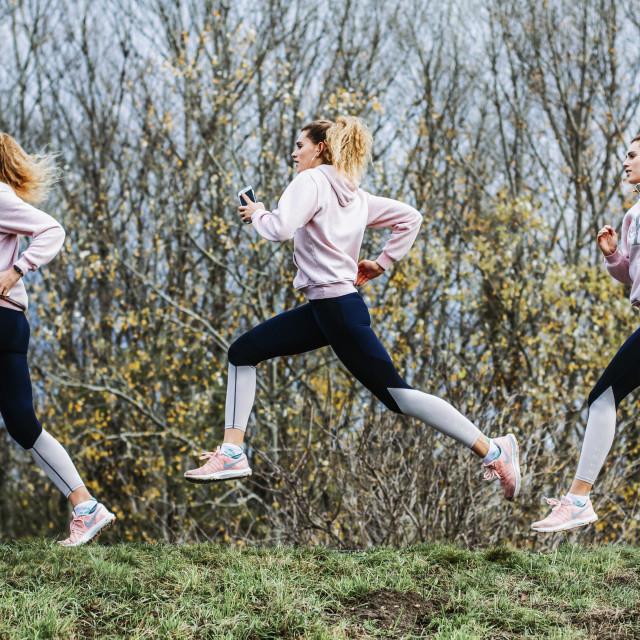 """Female runner sequence photo - multiple exposure stock photo"" stock image"