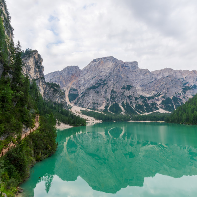 """""""View of Lake Braies and a path that runs alongside it"""" stock image"""