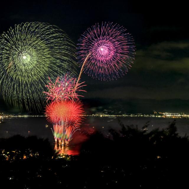 """Lake Suwa Hanabi Festival 01"" stock image"