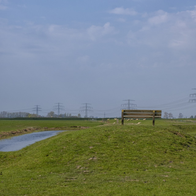 """""""Bench on a dike"""" stock image"""