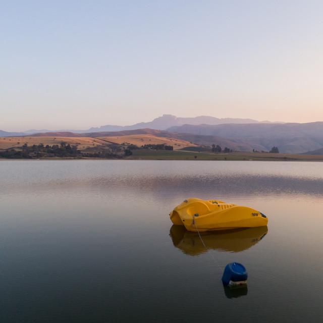 """""""Paddle boat on dam"""" stock image"""
