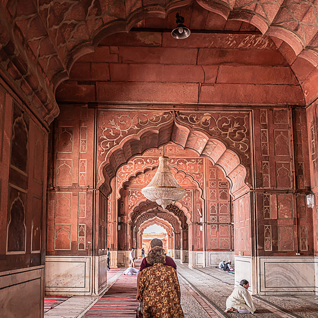 """Inside the Mosque in Delhi"" stock image"