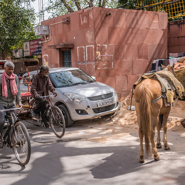 """Modes of transport on the streets of Delhi"" stock image"