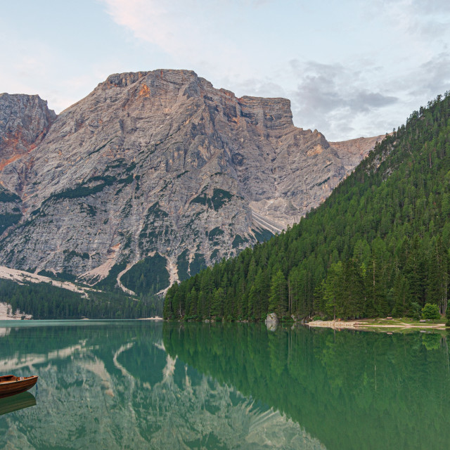 """""""Mooring of boats on Lake Braies at first light in the morning"""" stock image"""