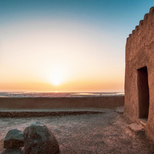 """Dhayah Fort in north Ras Al Khaimah United Arab Emirates at suns"" stock image"