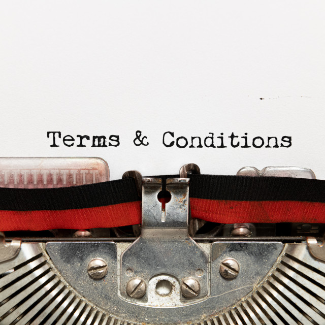 """Terms and condition title text written on paper with typewriter"" stock image"