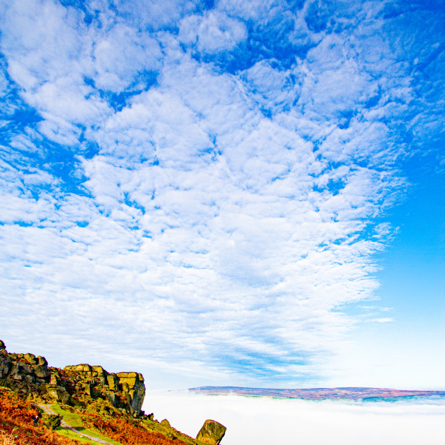 """Cow and Calf Rocks, Ilkley Moor in Early Morning Mist"" stock image"