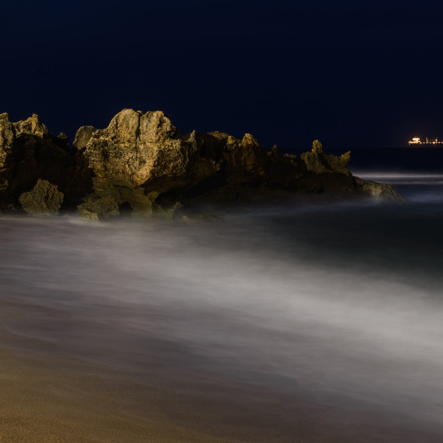 """Ship, Rocks and Ocean"" stock image"