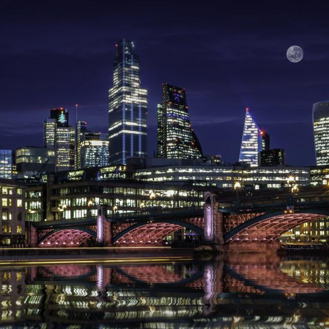 """The Illuminated River Thames at Southwark Bridge"" stock image"