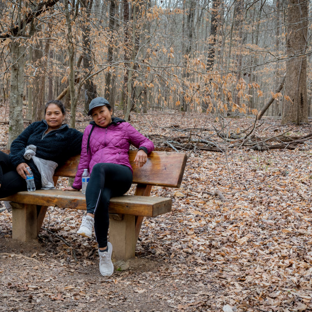 """""""Two women sitting on a bench in the woods on a winter day"""" stock image"""