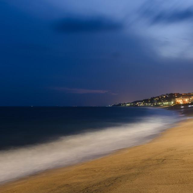 """Umdloti Beach and Ocean at night"" stock image"