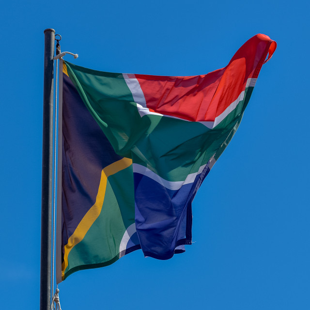 """""""South African Flag Blowing"""" stock image"""