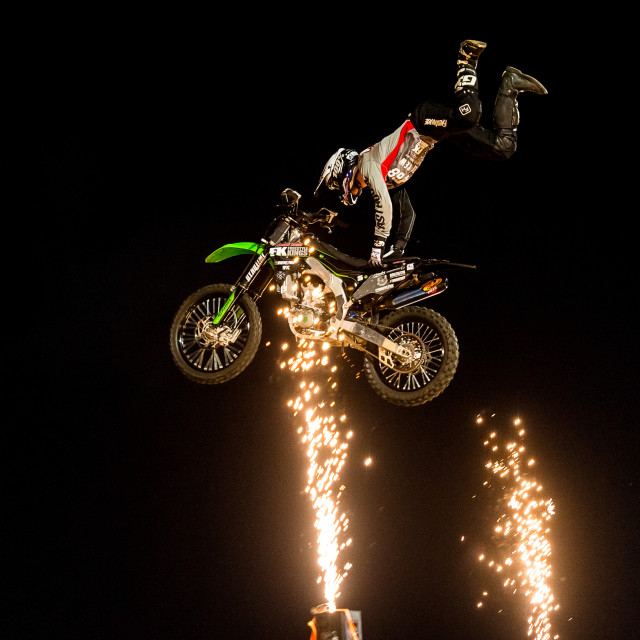 """Freestyle Motor Cross Fireworks"" stock image"