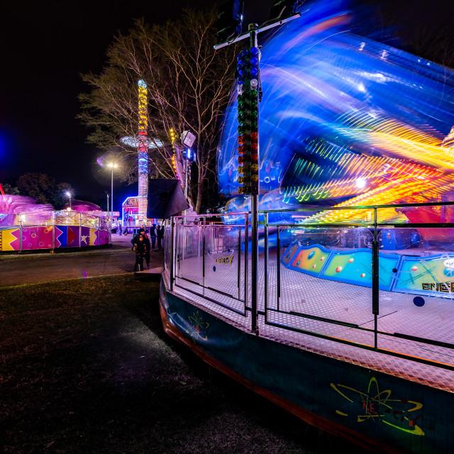 """Funfair rides at night"" stock image"