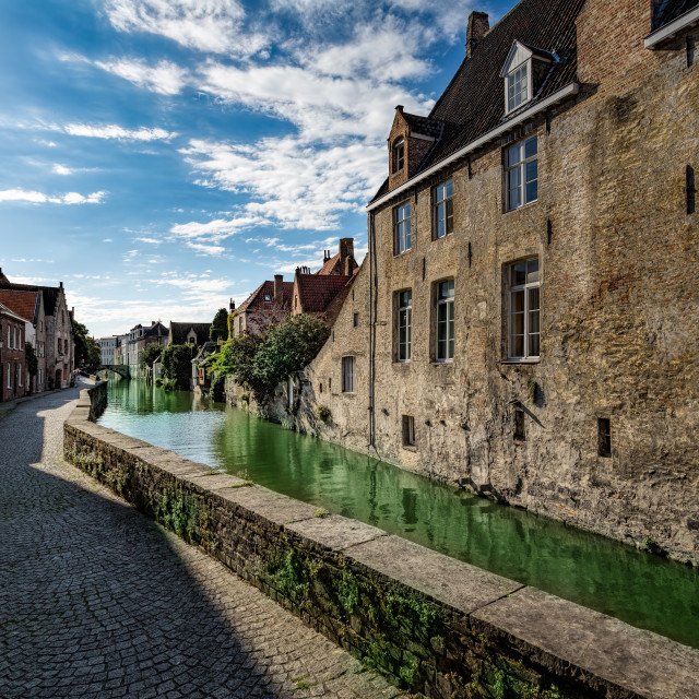 """Canal and Old Street Bruges Belgium"" stock image"