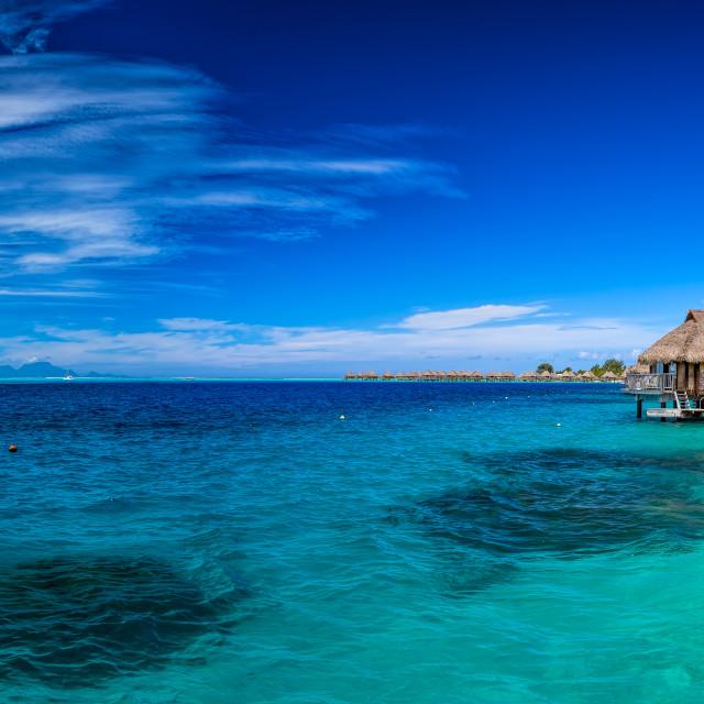 """Overwater Bures Bora Bora Panorama"" stock image"