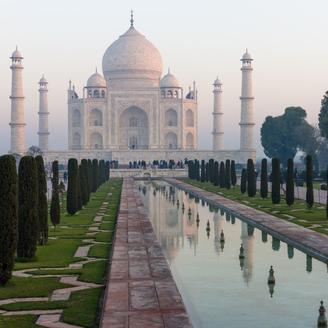 """Taj Mahal and its reflection"" stock image"