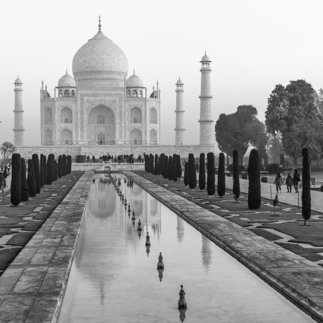 """Taj Mahal and its reflection. The classic view in BnW."" stock image"