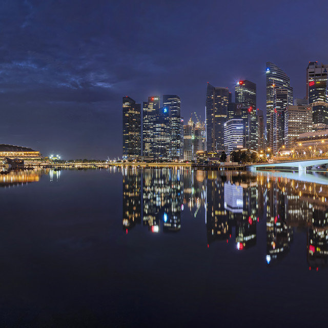 """""""Marina Bay Cityscape Panaroma 01"""" stock image"""