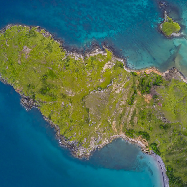 """Aerial view of island in Komodo National Park 02"" stock image"