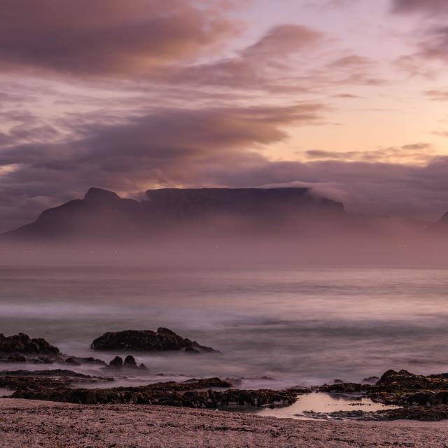 """Table Mountain through the mist"" stock image"