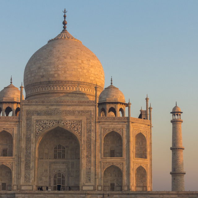 """Taj Mahal lit by the rising sun"" stock image"