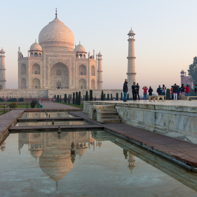 """Taj Mahal and its reflection with tourists at the central platform"" stock image"