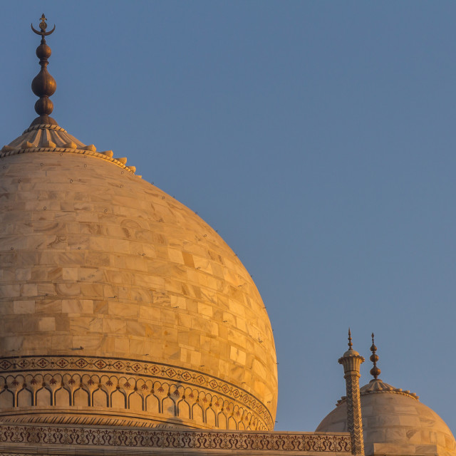 """Taj Mahal's dome lit by the golden light of the rising sun"" stock image"