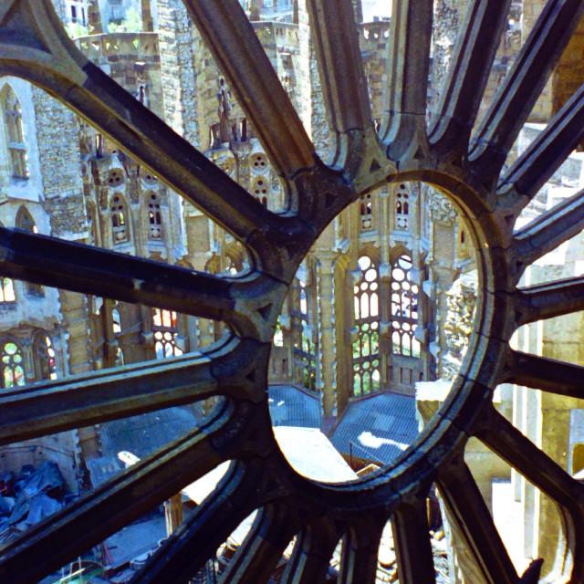 """Sagrada Familia window"" stock image"