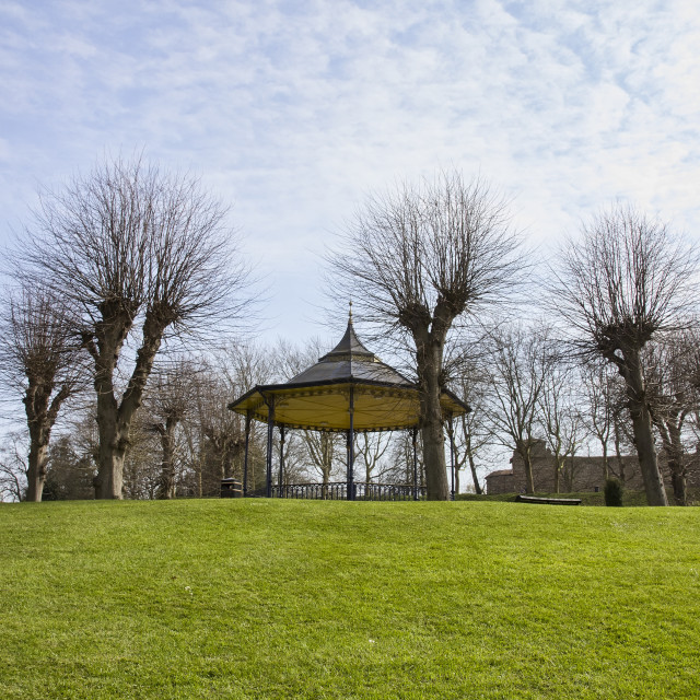 """Empty Colchester Castle Park in England during lockdown"" stock image"