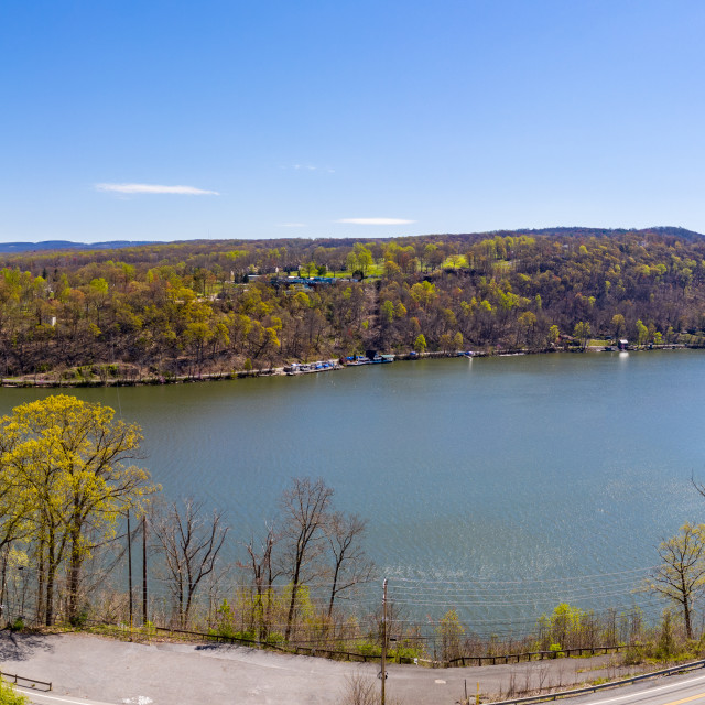 """""""Fall colors on Cheat Lake in Morgantown West Virginia"""" stock image"""