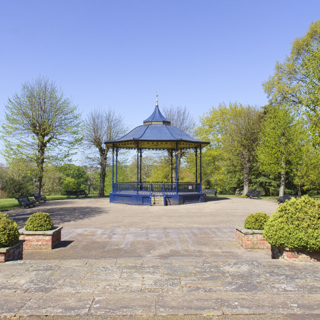 """Bandstand in Colchester Castle Park in spring"" stock image"