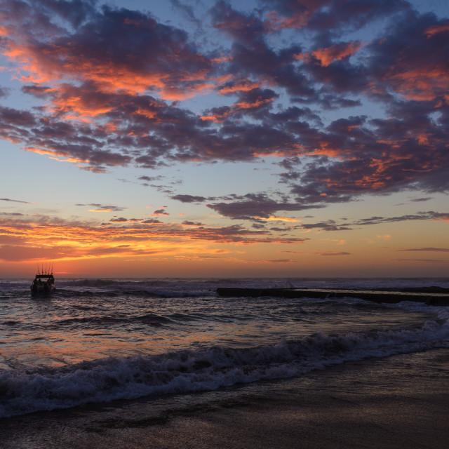 """""""Ski Boat Sunrise 5"""" stock image"""