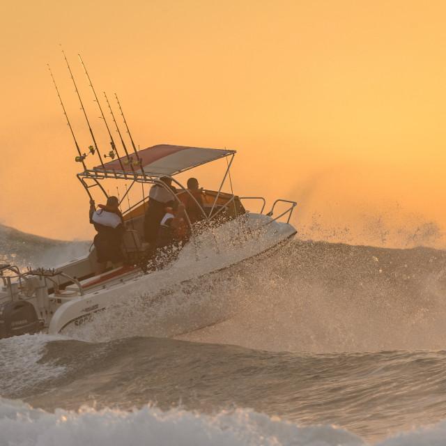 """""""Ski Boat Sunrise 3"""" stock image"""