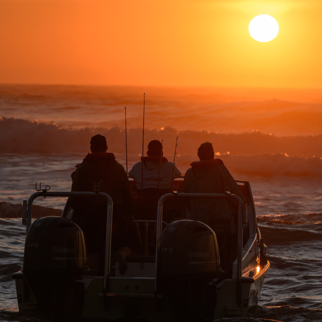 """""""Ski Boat Sunrise 7"""" stock image"""