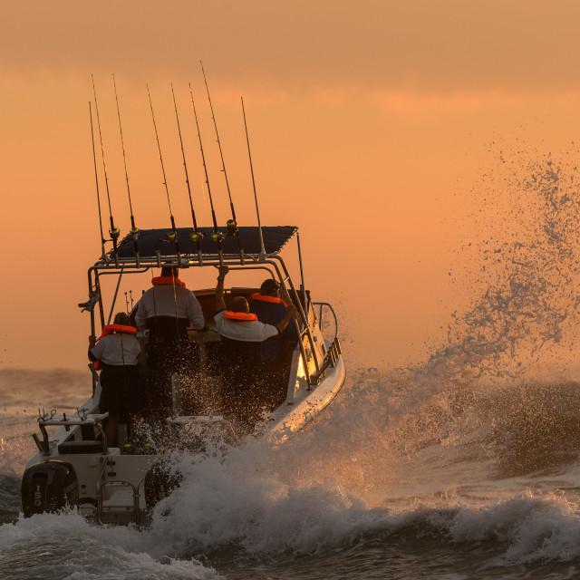 """""""Ski Boat Sunrise 8"""" stock image"""