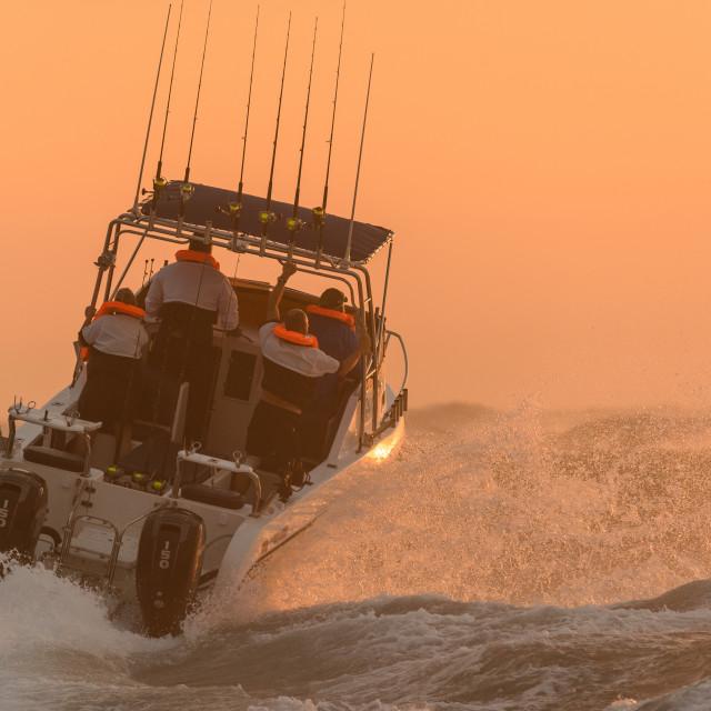 """""""Ski Boat Sunrise 9"""" stock image"""