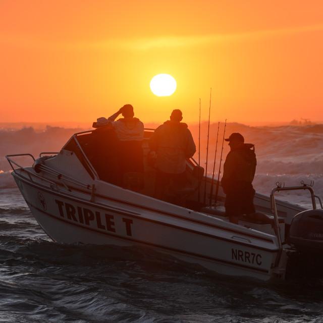 """""""Ski Boat Sunrise 6"""" stock image"""