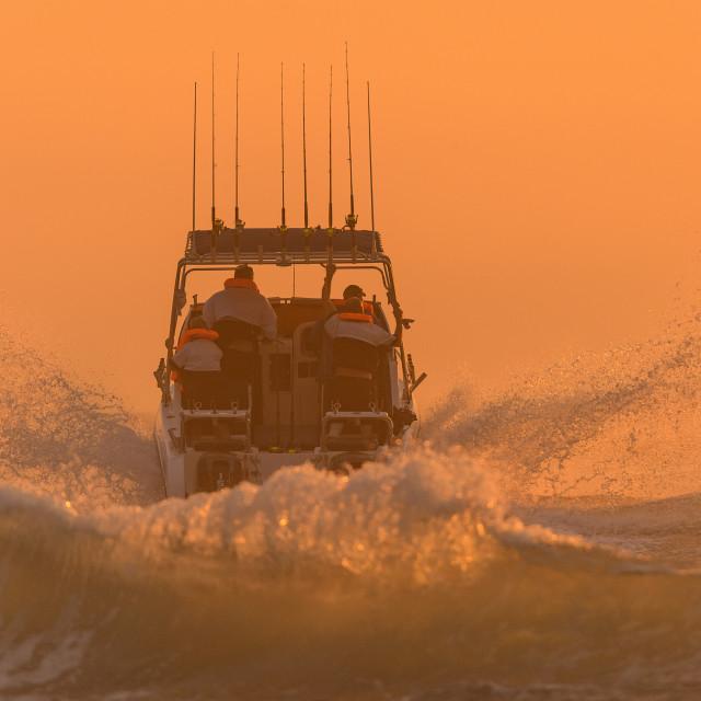 """""""Ski Boat Sunrise 2"""" stock image"""