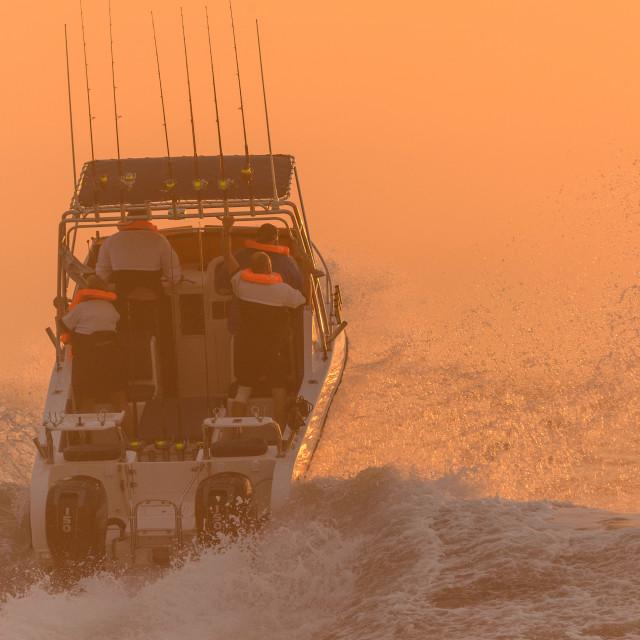 """""""Ski Boat Sunrise 1"""" stock image"""