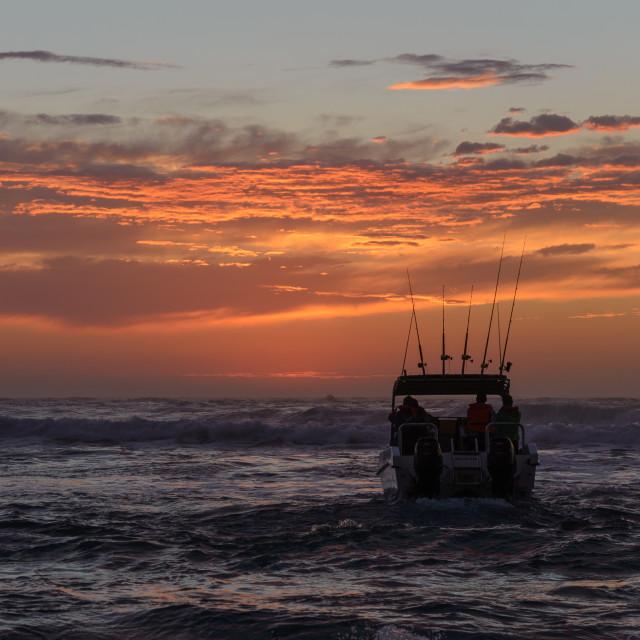 """""""Ski Boat Sunrise 4"""" stock image"""
