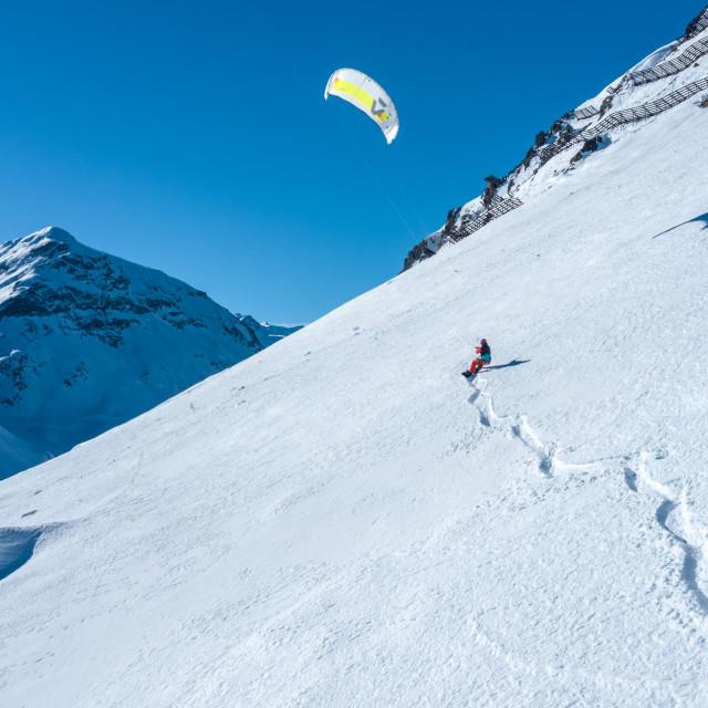 """Snowkiting in Swiss"" stock image"