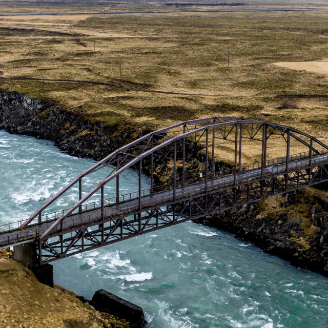 """OLD IRON BRIDGE IN ICELAND"" stock image"