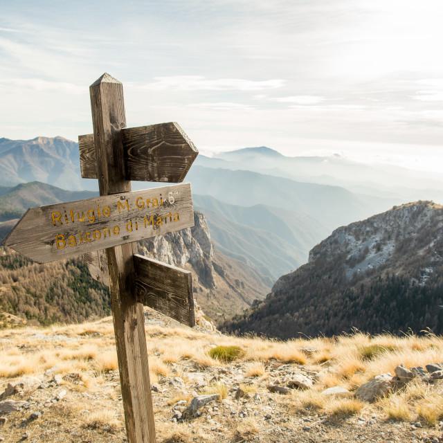 """""""Parco Degli Alpini Trail Signs"""" stock image"""