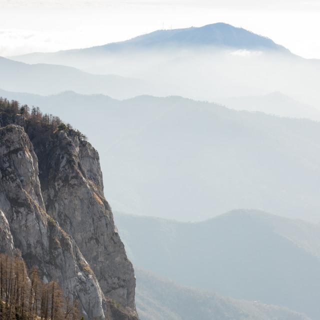 """Rolling Misty Ligurian Hills"" stock image"