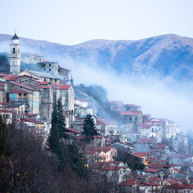 """Triora in Valley Mist"" stock image"