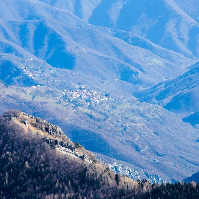 """""""Distant Triora From Parco Degli Alpini"""" stock image"""
