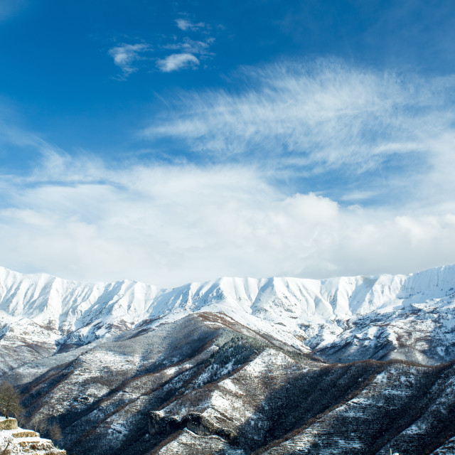 """""""Snow-capped Ligurian Alps From Triora"""" stock image"""
