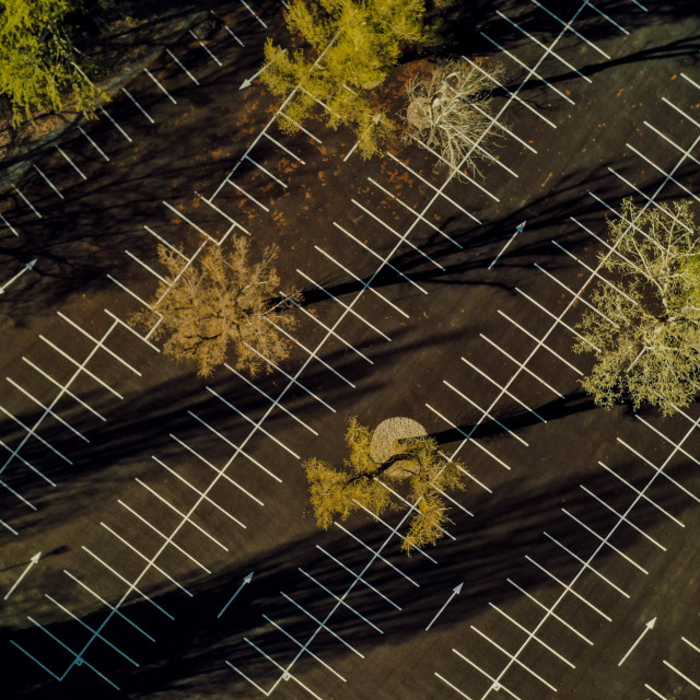 """""""Aerial view of an empty asphalt parking lot"""" stock image"""